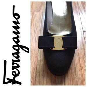 Salvatore Ferragamo Black Satin Size 8 1/2 shoes